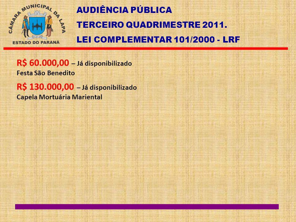 AUDIÊNCIA PÚBLICA TERCEIRO QUADRIMESTRE 2011. LEI COMPLEMENTAR 101/2000 - LRF R$ 60.000,00 – Já disponibilizado Festa São Benedito R$ 130.000,00 – Já