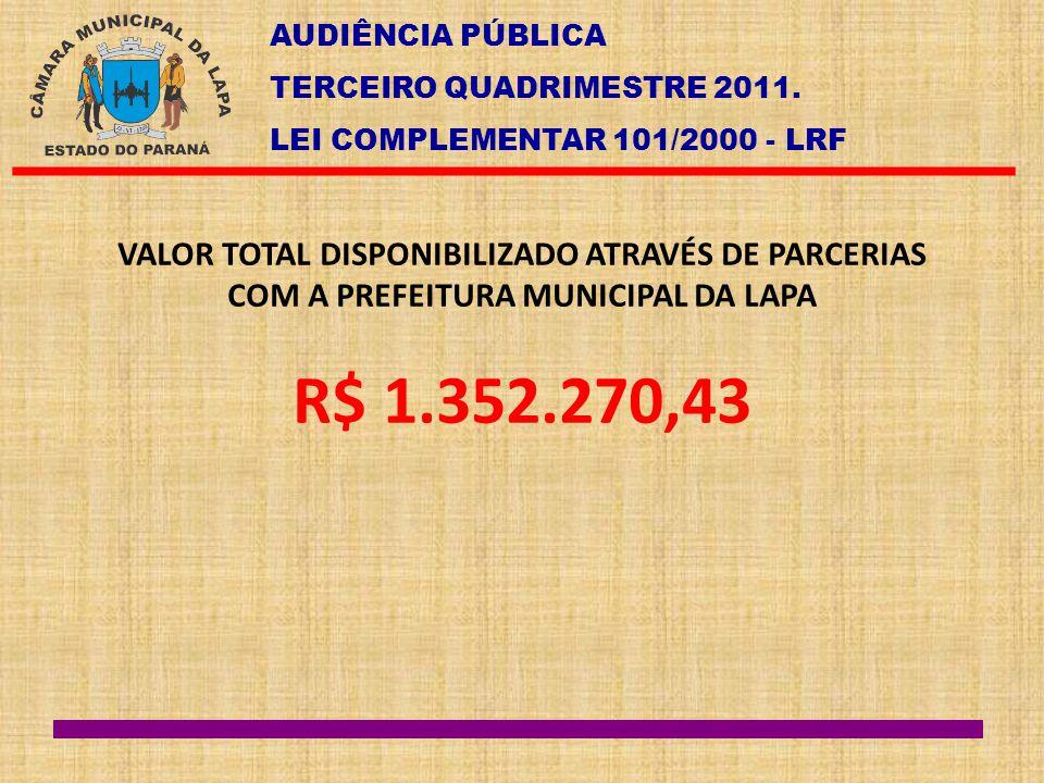 AUDIÊNCIA PÚBLICA TERCEIRO QUADRIMESTRE 2011. LEI COMPLEMENTAR 101/2000 - LRF VALOR TOTAL DISPONIBILIZADO ATRAVÉS DE PARCERIAS COM A PREFEITURA MUNICI