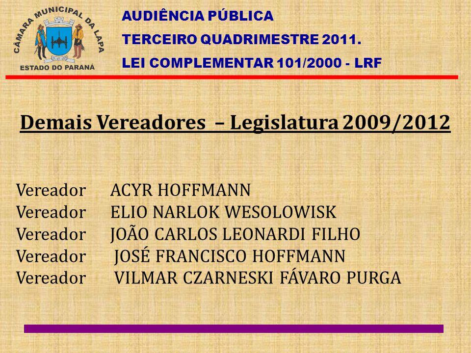 AUDIÊNCIA PÚBLICA TERCEIRO QUADRIMESTRE 2011. LEI COMPLEMENTAR 101/2000 - LRF Demais Vereadores – Legislatura 2009/2012 Vereador ACYR HOFFMANN Vereado