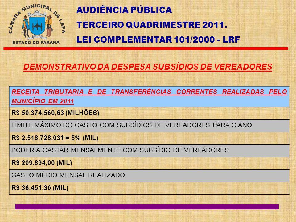 AUDIÊNCIA PÚBLICA TERCEIRO QUADRIMESTRE 2011. LEI COMPLEMENTAR 101/2000 - LRF DEMONSTRATIVO DA DESPESA SUBSÍDIOS DE VEREADORES RECEITA TRIBUTARIA E DE