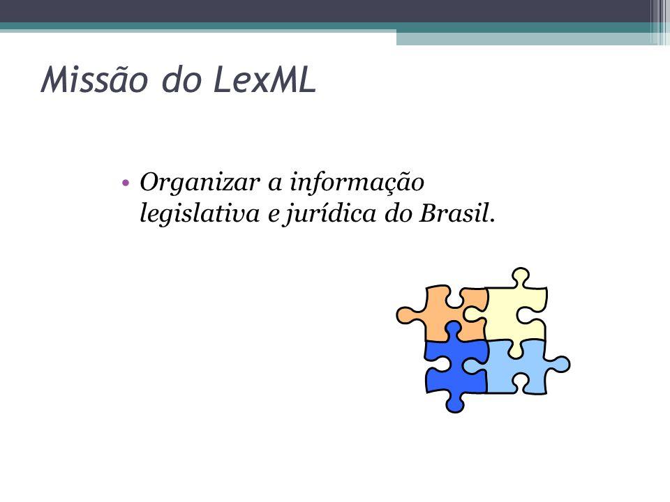 Missão do LexML Organizar a informação legislativa e jurídica do Brasil.