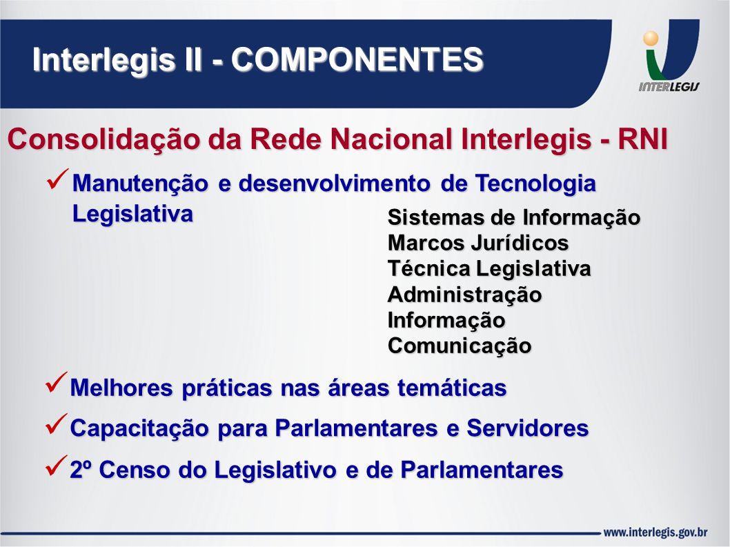 Interlegis II - COMPONENTES Consolidação da Rede Nacional Interlegis - RNI Manutenção e desenvolvimento de Tecnologia Legislativa Melhores práticas na