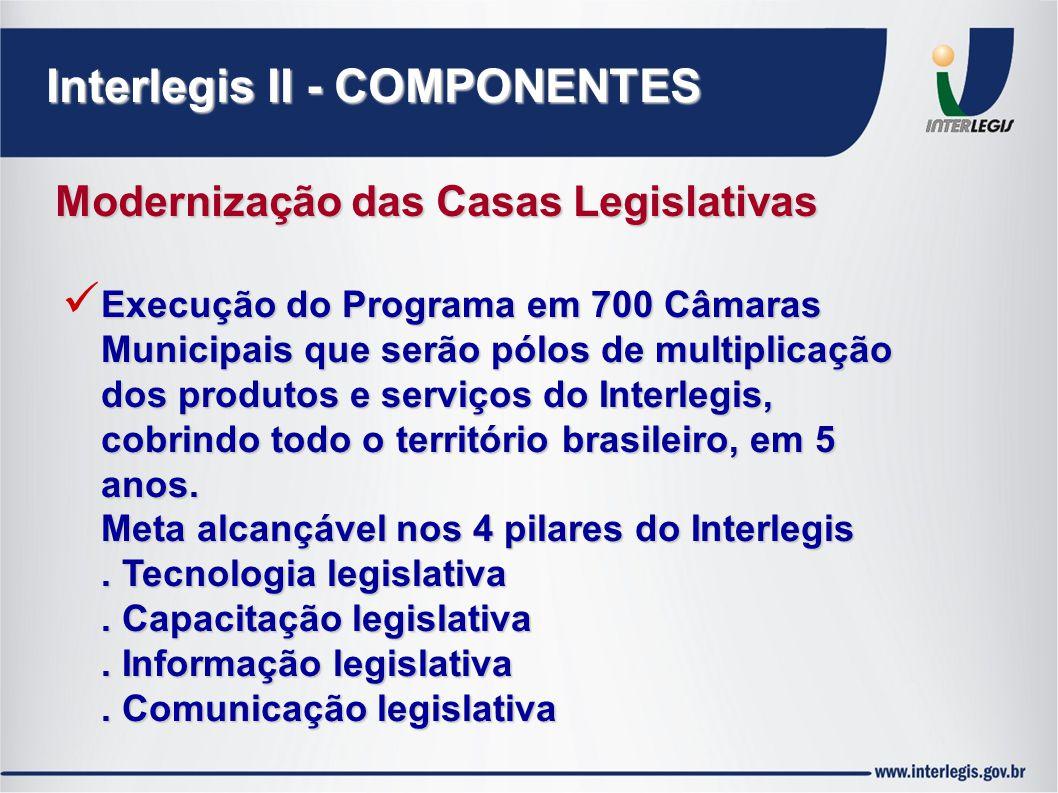 Interlegis II - COMPONENTES Modernização das Casas Legislativas Execução do Programa em 700 Câmaras Municipais que serão pólos de multiplicação dos produtos e serviços do Interlegis, cobrindo todo o território brasileiro, em 5 anos.