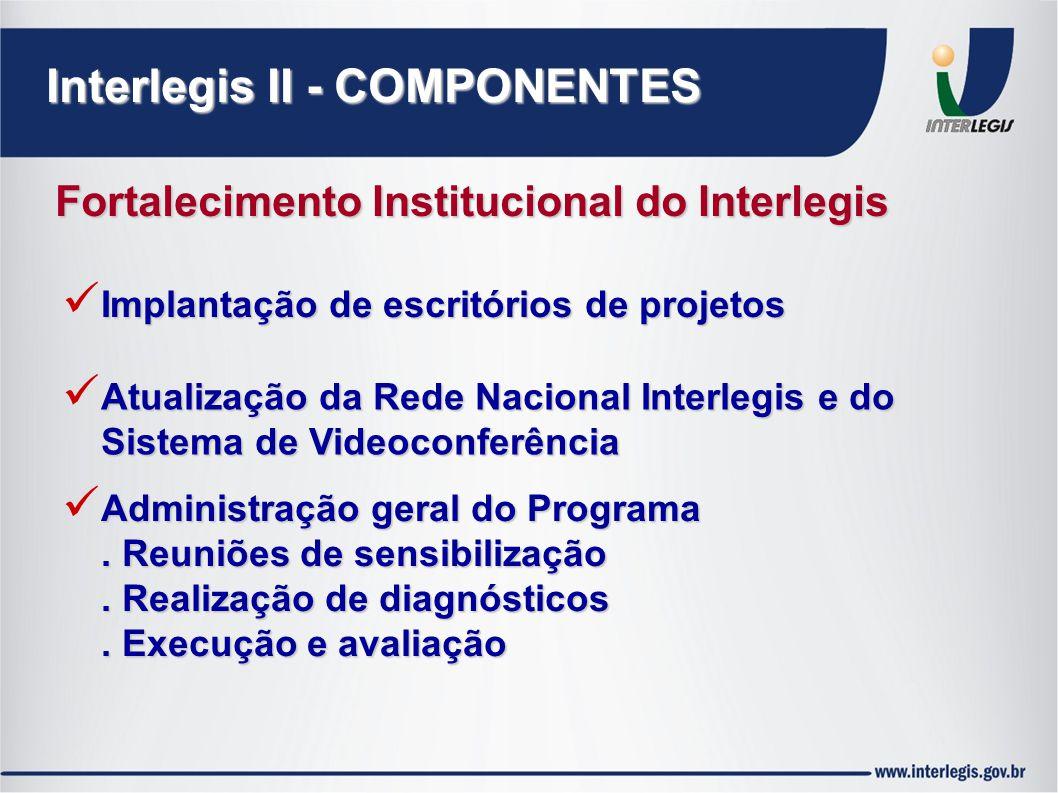 Interlegis II - COMPONENTES Fortalecimento Institucional do Interlegis Implantação de escritórios de projetos Atualização da Rede Nacional Interlegis e do Sistema de Videoconferência Administração geral do Programa.