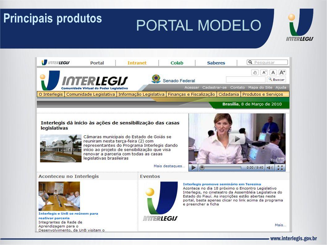 Principais produtos PORTAL MODELO