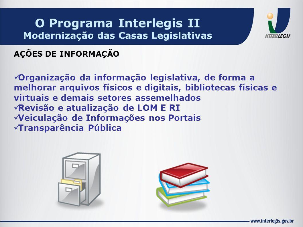 Organização da informação legislativa, de forma a melhorar arquivos físicos e digitais, bibliotecas físicas e virtuais e demais setores assemelhados R