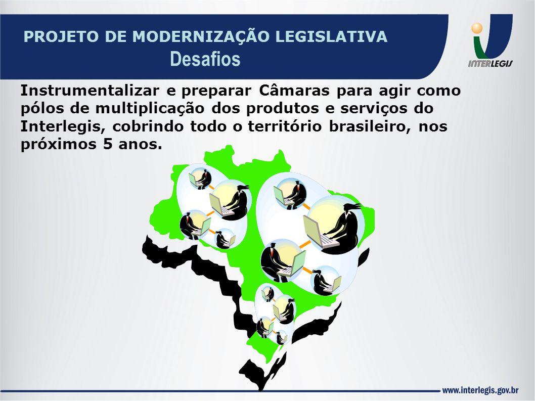 Instrumentalizar e preparar Câmaras para agir como pólos de multiplicação dos produtos e serviços do Interlegis, cobrindo todo o território brasileiro