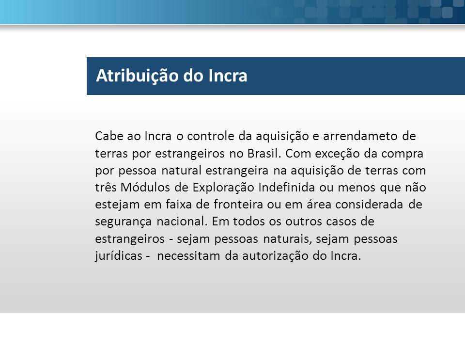 Atribuição do Incra Cabe ao Incra o controle da aquisição e arrendameto de terras por estrangeiros no Brasil. Com exceção da compra por pessoa natural