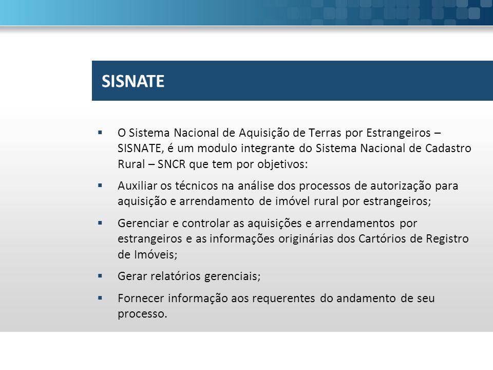  O Sistema Nacional de Aquisição de Terras por Estrangeiros – SISNATE, é um modulo integrante do Sistema Nacional de Cadastro Rural – SNCR que tem po