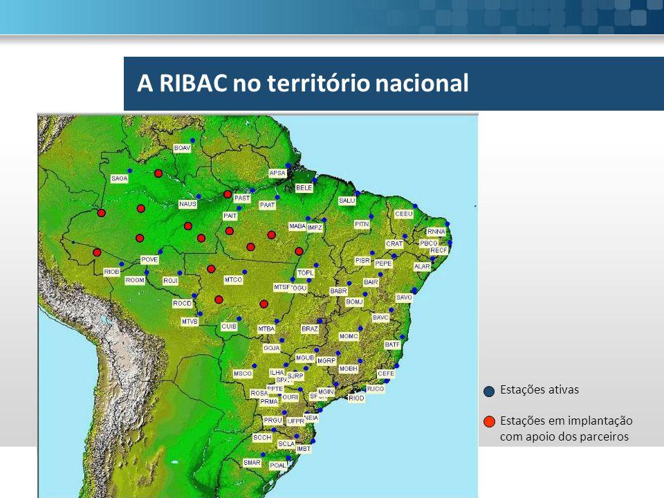 Estações ativas Estações em implantação com apoio dos parceiros A RIBAC no território nacional