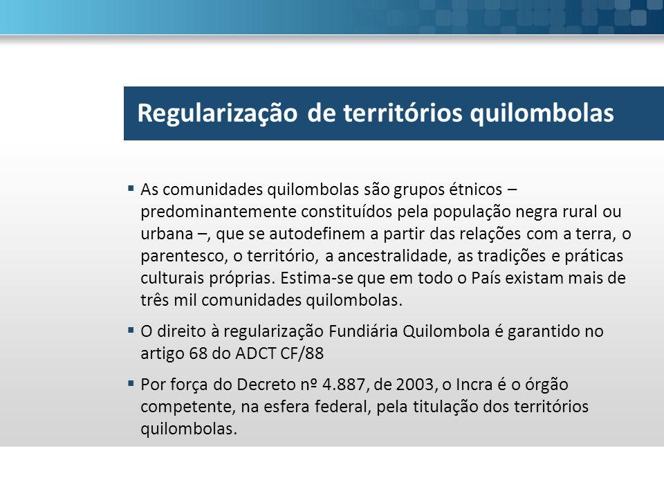  As comunidades quilombolas são grupos étnicos – predominantemente constituídos pela população negra rural ou urbana –, que se autodefinem a partir d
