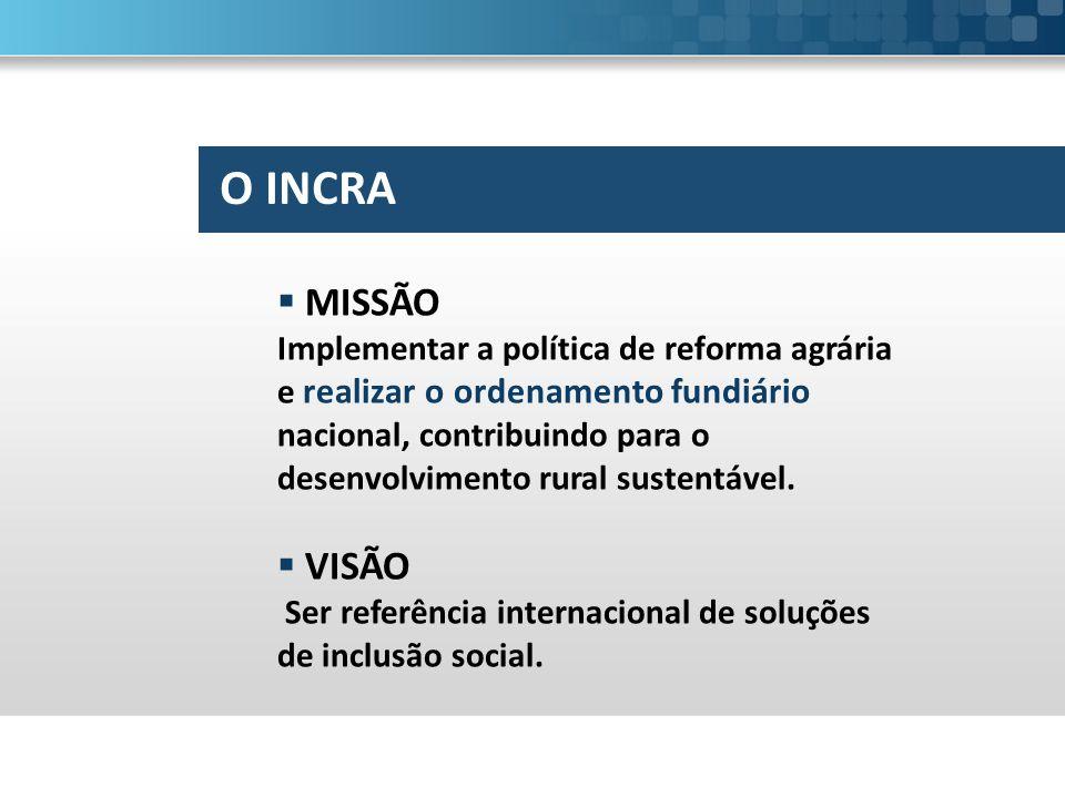  Gestão territorial e governança fundiária;  Reforma agrária  Reconhecimento de territórios quilombolas;  Regularização Fundiária.