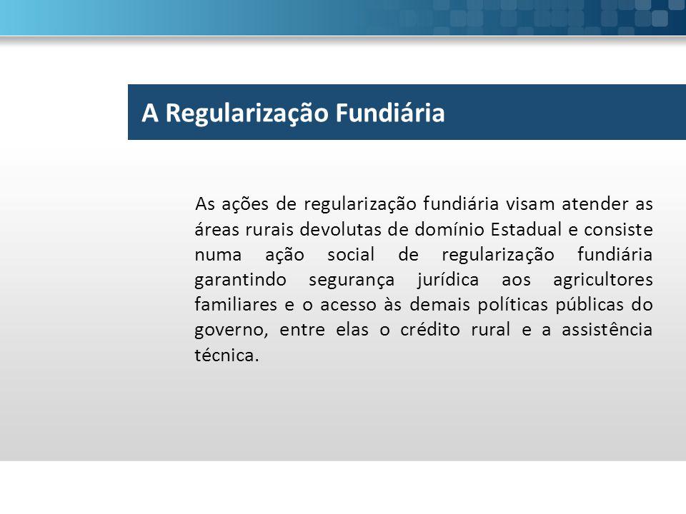 As ações de regularização fundiária visam atender as áreas rurais devolutas de domínio Estadual e consiste numa ação social de regularização fundiária