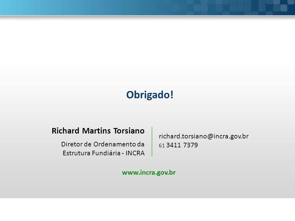Richard Martins Torsiano Diretor de Ordenamento da Estrutura Fundiária - INCRA Obrigado! richard.torsiano@incra.gov.br 61 3411 7379 www.incra.gov.br