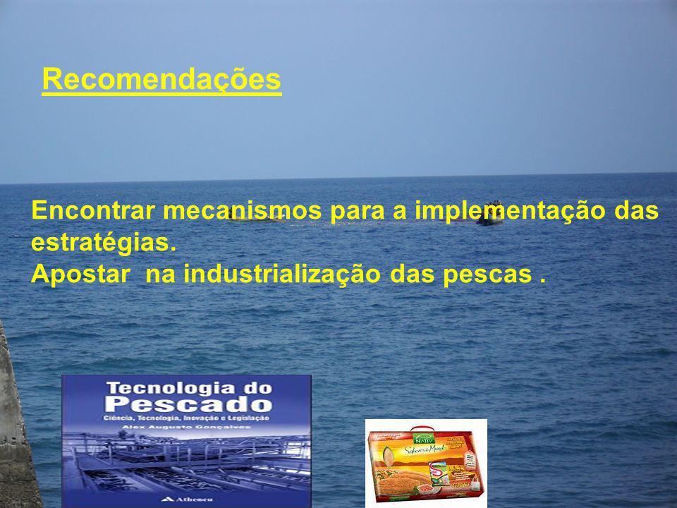 Recomendações Encontrar mecanismos para a implementação das estratégias. Apostar na industrialização das pescas.