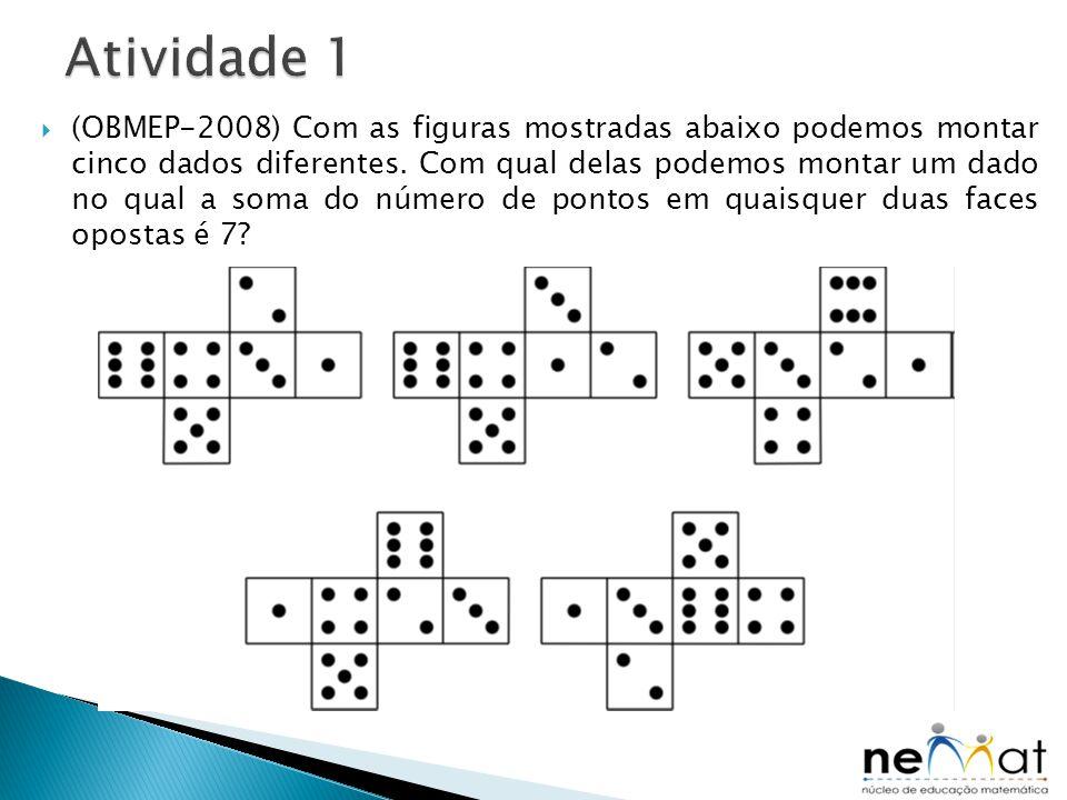  (OBMEP-2008) Com as figuras mostradas abaixo podemos montar cinco dados diferentes. Com qual delas podemos montar um dado no qual a soma do número d