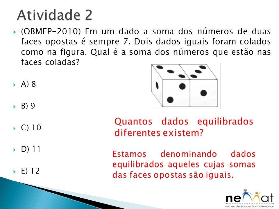  (OBMEP-2010) Em um dado a soma dos números de duas faces opostas é sempre 7. Dois dados iguais foram colados como na figura. Qual é a soma dos númer