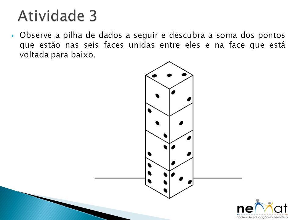  Observe a pilha de dados a seguir e descubra a soma dos pontos que estão nas seis faces unidas entre eles e na face que está voltada para baixo.