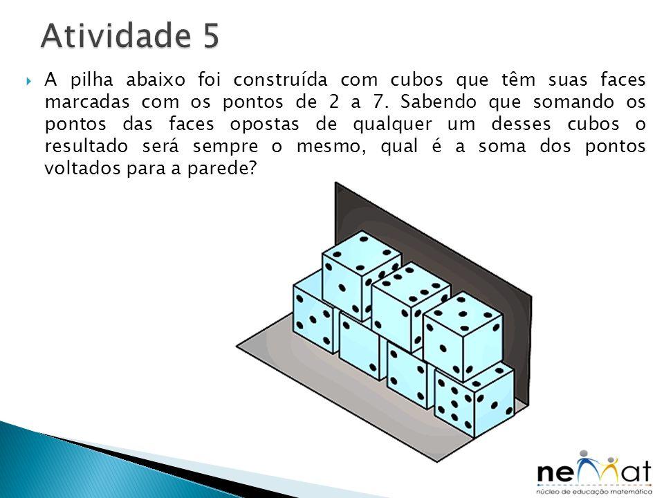  A pilha abaixo foi construída com cubos que têm suas faces marcadas com os pontos de 2 a 7. Sabendo que somando os pontos das faces opostas de qualq