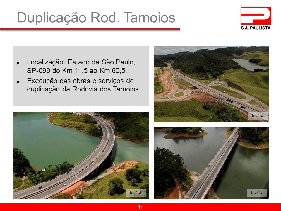 Duplicação Rod.Tamoios ● Localização: Estado de São Paulo, SP-099 do Km 11,5 ao Km 60,5.