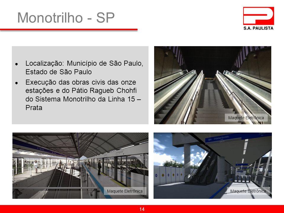 Monotrilho - SP 14 ● Localização: Município de São Paulo, Estado de São Paulo ● Execução das obras civis das onze estações e do Pátio Ragueb Chohfi do Sistema Monotrilho da Linha 15 – Prata Maquete Eletrônica