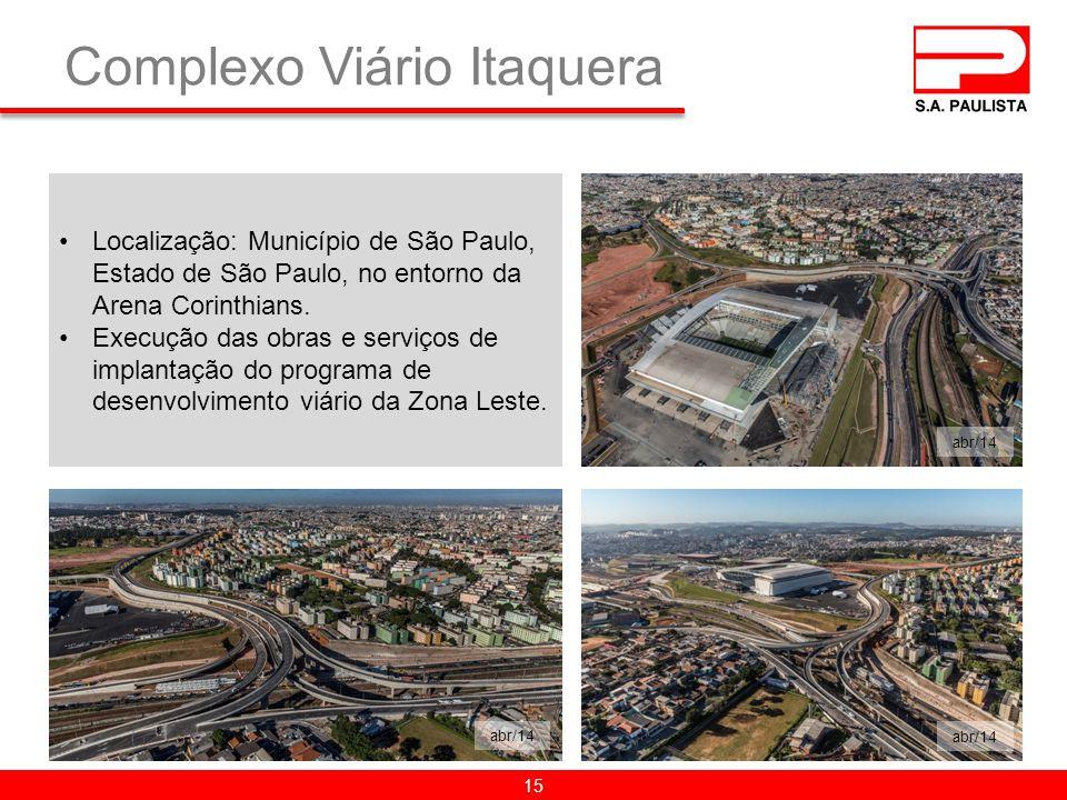 Complexo Viário Itaquera Localização: Município de São Paulo, Estado de São Paulo, no entorno da Arena Corinthians.