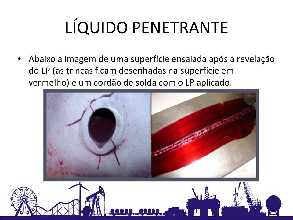 LÍQUIDO PENETRANTE Abaixo a imagem de uma superfície ensaiada após a revelação do LP (as trincas ficam desenhadas na superfície em vermelho) e um cord