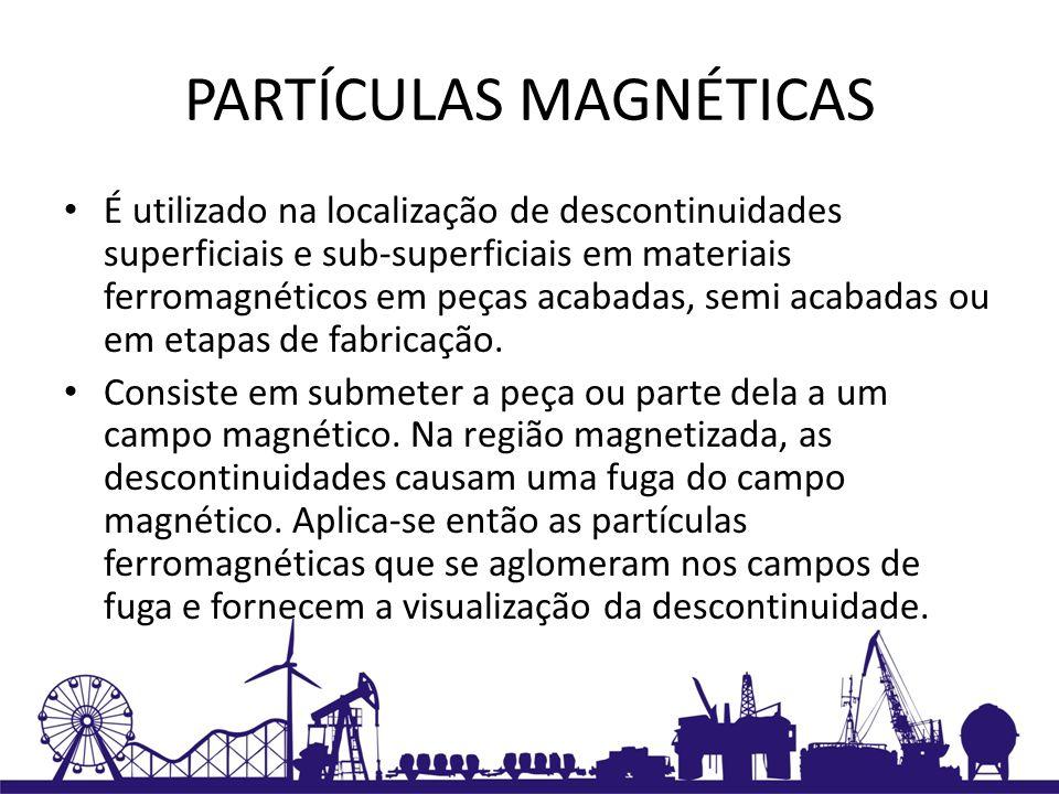 PARTÍCULAS MAGNÉTICAS É utilizado na localização de descontinuidades superficiais e sub-superficiais em materiais ferromagnéticos em peças acabadas, s