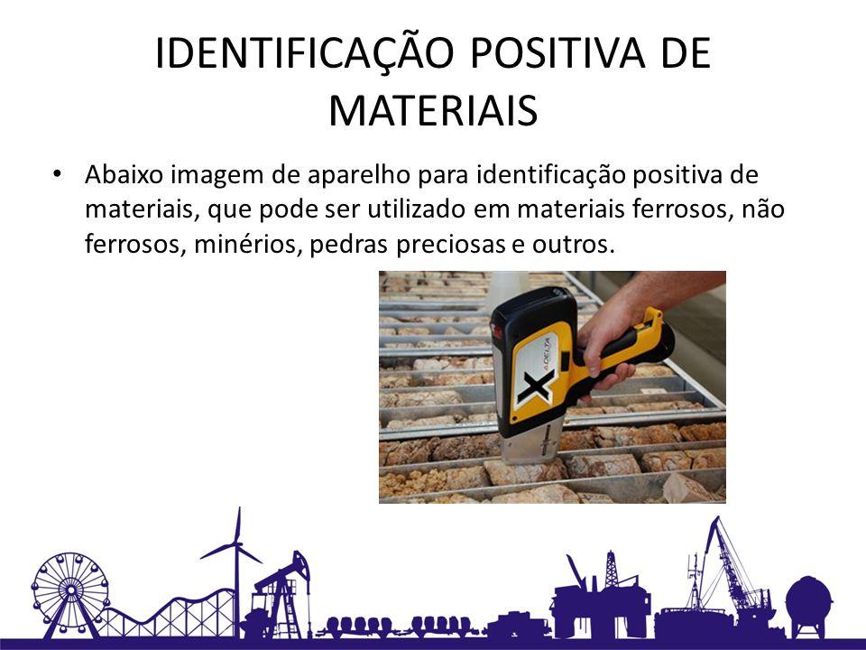 IDENTIFICAÇÃO POSITIVA DE MATERIAIS Abaixo imagem de aparelho para identificação positiva de materiais, que pode ser utilizado em materiais ferrosos,