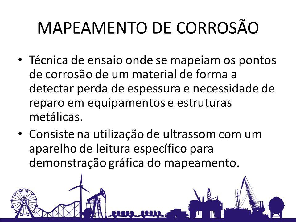 MAPEAMENTO DE CORROSÃO Técnica de ensaio onde se mapeiam os pontos de corrosão de um material de forma a detectar perda de espessura e necessidade de