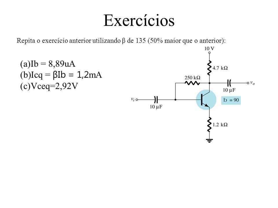 Exercícios Repita o exercício anterior utilizando β de 135 (50% maior que o anterior): (a)Ib = 8,89uA (b)Icq = βIb = 1,2 mA (c)Vceq=2,92V