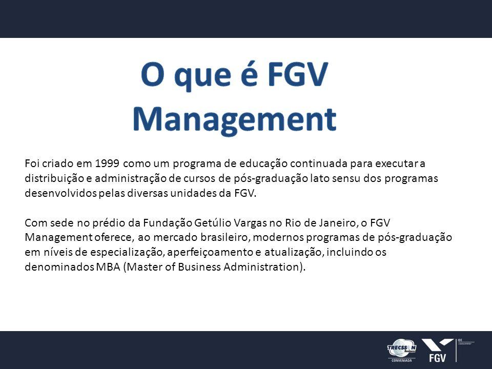 Foi criado em 1999 como um programa de educação continuada para executar a distribuição e administração de cursos de pós-graduação lato sensu dos programas desenvolvidos pelas diversas unidades da FGV.