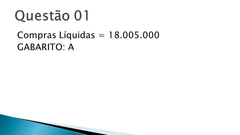  O valor de ingresso no Fluxo de Caixa, nos três períodos, proveniente das Vendas é: