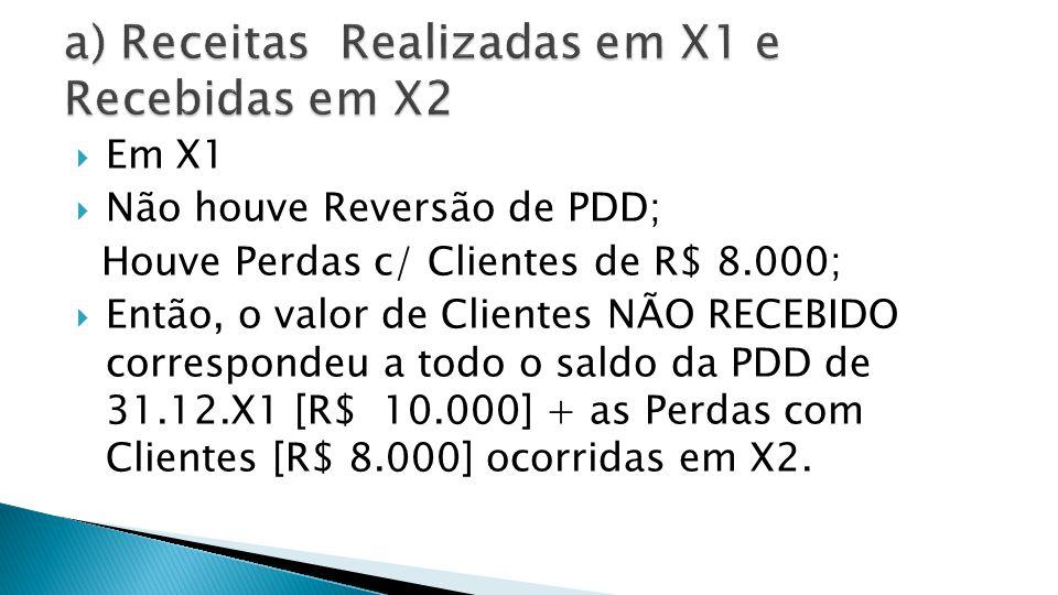 X2 Clientes: 13.000.000 (-) PDD Baixada: 10.000 (-) Perdas c/ Clientes: 8.000 = Recebimento de Disponibilidades: 12.982.000