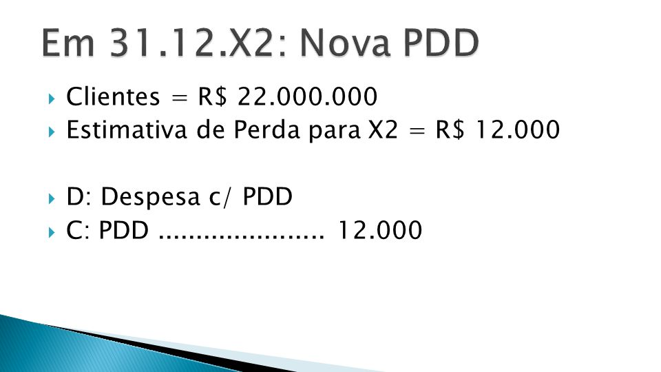  Receita de Vendas [X1] 25.000.000  (-) Aumento de Clientes (9.000.000)  [Variação a Débito: 13.000.000 p/ 22.000.000]  (-) Baixa da PDD (10.000): Var.