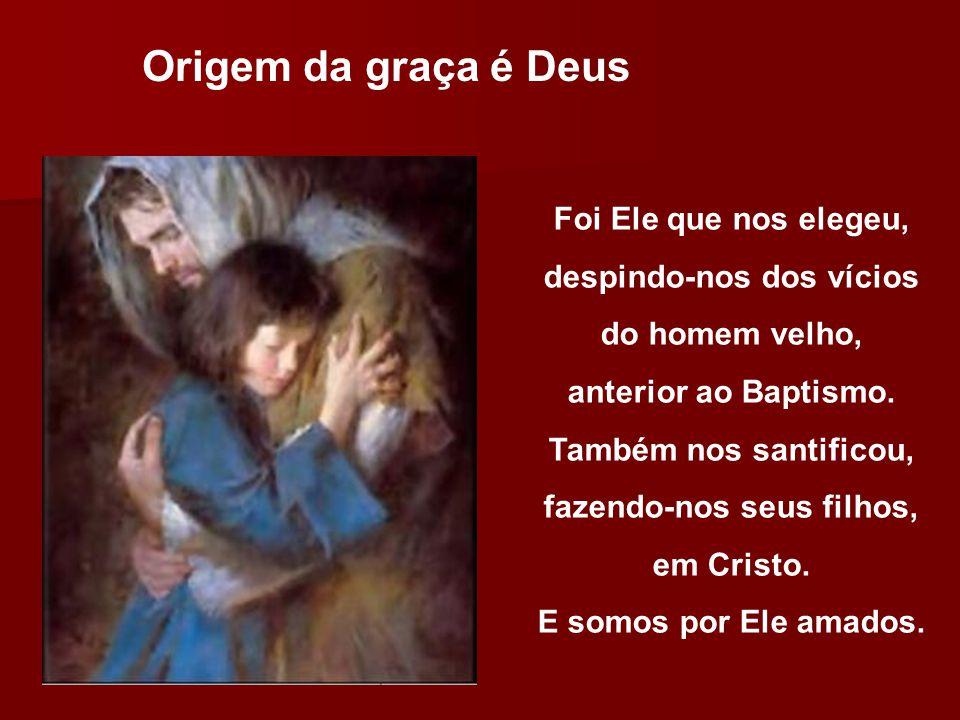 Origem da graça é Deus Foi Ele que nos elegeu, despindo-nos dos vícios do homem velho, anterior ao Baptismo. Também nos santificou, fazendo-nos seus f