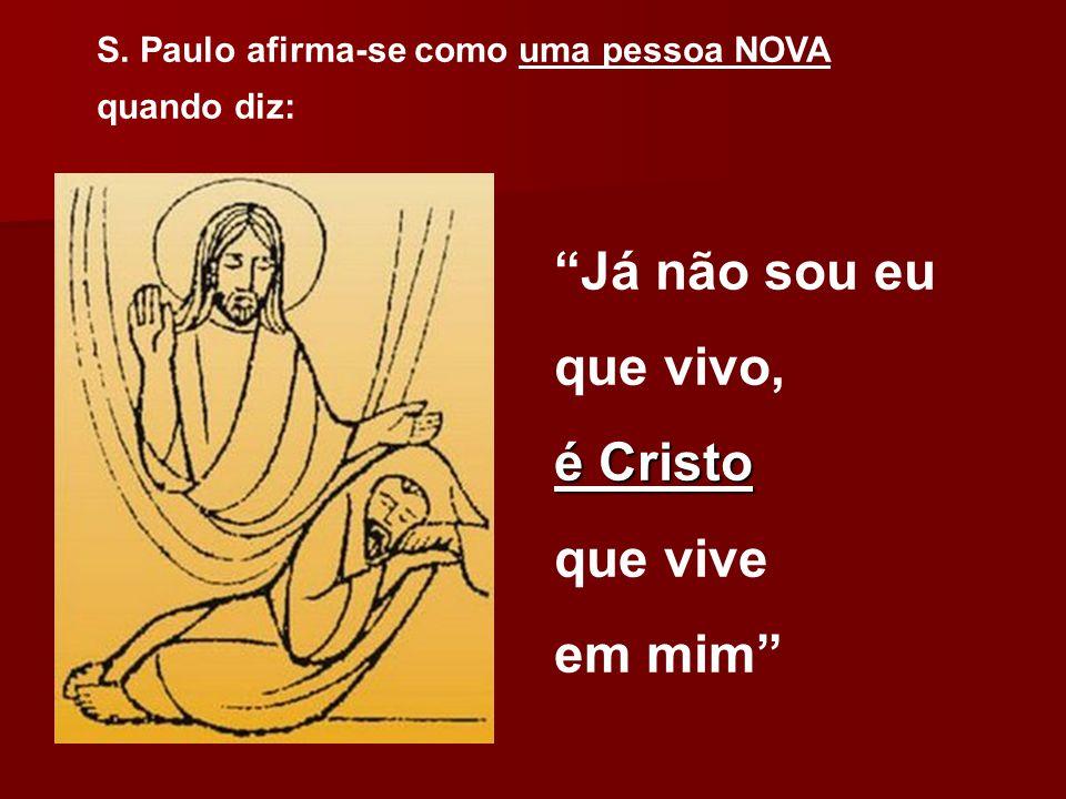 """S. Paulo afirma-se como uma pessoa NOVA quando diz: """"Já não sou eu que vivo, é Cristo que vive em mim"""""""
