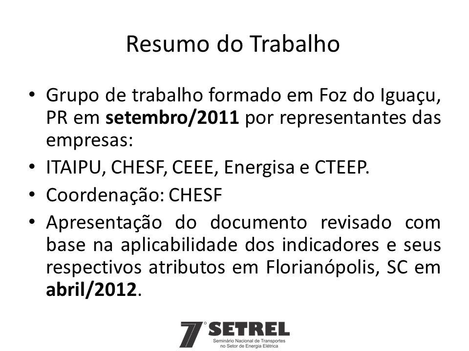 Resumo do Trabalho Grupo de trabalho formado em Foz do Iguaçu, PR em setembro/2011 por representantes das empresas: ITAIPU, CHESF, CEEE, Energisa e CT