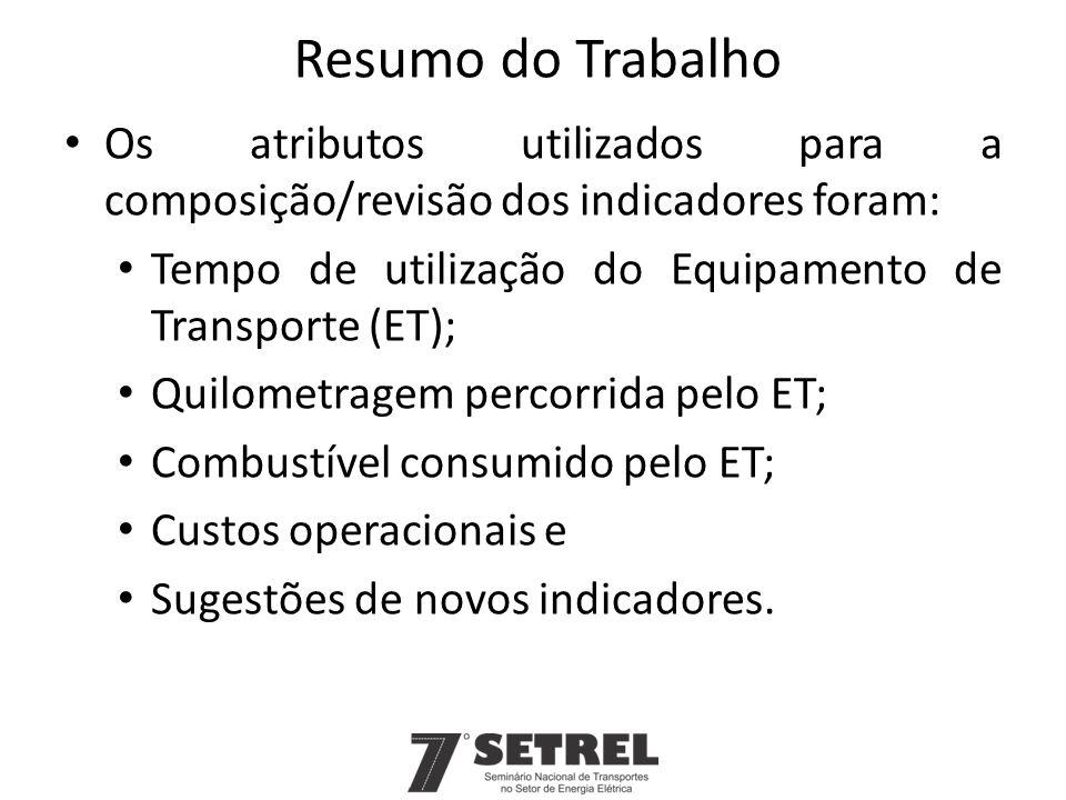 Os atributos utilizados para a composição/revisão dos indicadores foram: Tempo de utilização do Equipamento de Transporte (ET); Quilometragem percorri