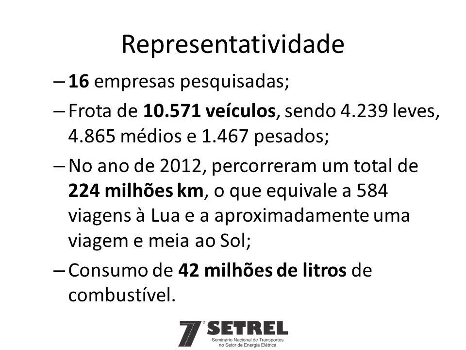 Representatividade – 16 empresas pesquisadas; – Frota de 10.571 veículos, sendo 4.239 leves, 4.865 médios e 1.467 pesados; – No ano de 2012, percorrer