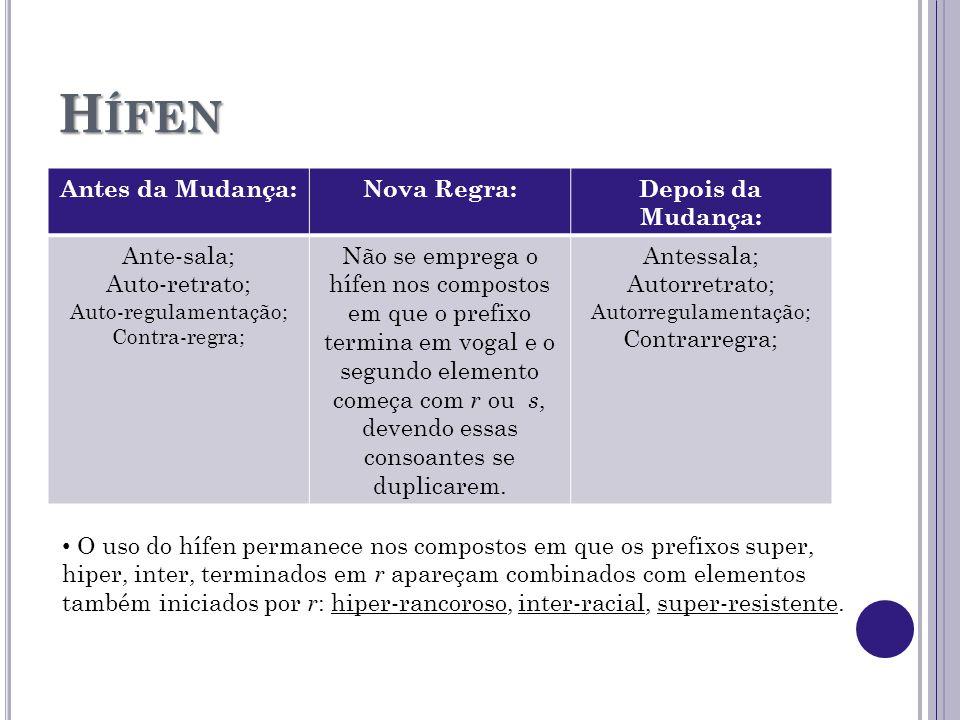 H ÍFEN Antes da Mudança:Nova Regra:Depois da Mudança: Ante-sala; Auto-retrato; Auto-regulamentação; Contra-regra; Não se emprega o hífen nos compostos