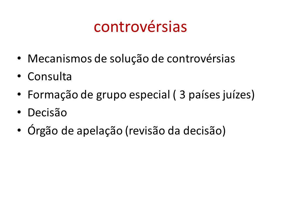 controvérsias Mecanismos de solução de controvérsias Consulta Formação de grupo especial ( 3 países juízes) Decisão Órgão de apelação (revisão da deci
