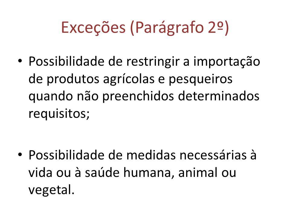 Exceções (Parágrafo 2º) Possibilidade de restringir a importação de produtos agrícolas e pesqueiros quando não preenchidos determinados requisitos; Po