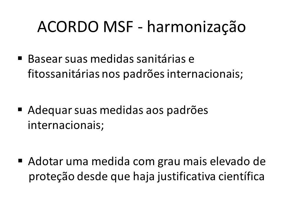 ACORDO MSF - harmonização  Basear suas medidas sanitárias e fitossanitárias nos padrões internacionais;  Adequar suas medidas aos padrões internacio