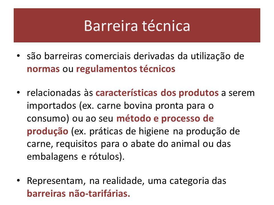 Barreira técnica são barreiras comerciais derivadas da utilização de normas ou regulamentos técnicos relacionadas às características dos produtos a se