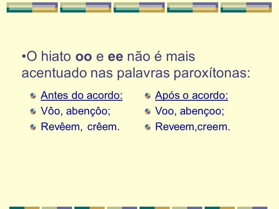 O hiato oo e ee não é mais acentuado nas palavras paroxítonas: Antes do acordo: Vôo, abençôo; Revêem, crêem.