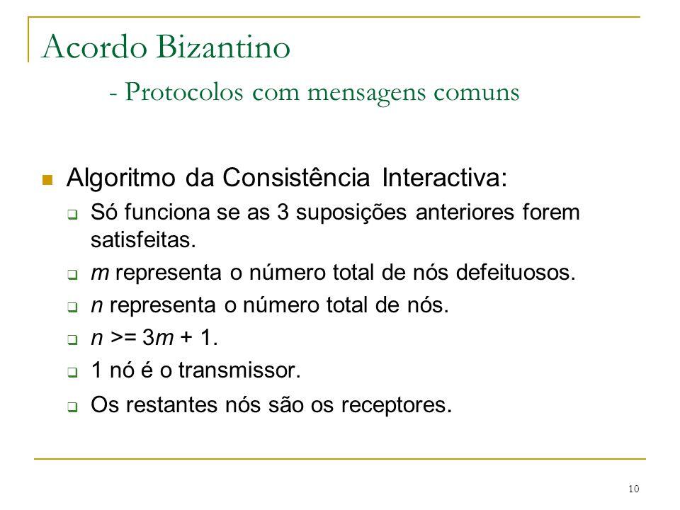 10 Acordo Bizantino - Protocolos com mensagens comuns Algoritmo da Consistência Interactiva:  Só funciona se as 3 suposições anteriores forem satisfe