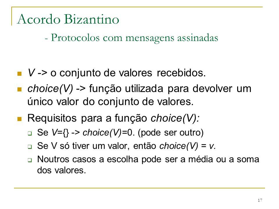 17 Acordo Bizantino - Protocolos com mensagens assinadas V -> o conjunto de valores recebidos. choice(V) -> função utilizada para devolver um único va