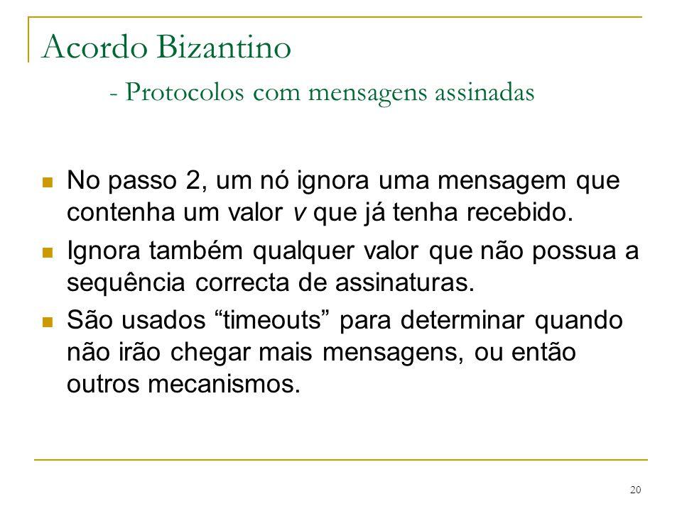 20 Acordo Bizantino - Protocolos com mensagens assinadas No passo 2, um nó ignora uma mensagem que contenha um valor v que já tenha recebido. Ignora t
