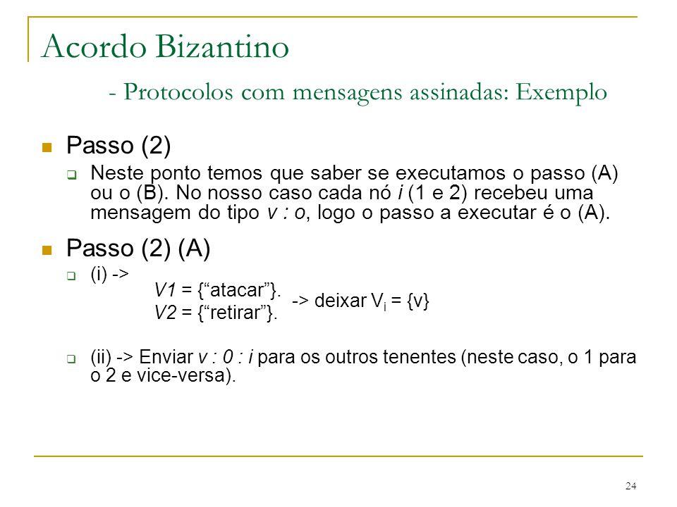 24 Acordo Bizantino - Protocolos com mensagens assinadas: Exemplo Passo (2)  Neste ponto temos que saber se executamos o passo (A) ou o (B). No nosso